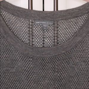 James Perse Size 2 Perforated Grey Tee